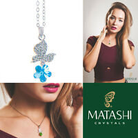16 Rhodium Plated Necklace W/ Butterfly, Flower & Blue Crystals By Matashi on sale