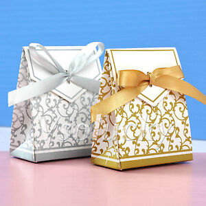 Wedding Gift Bags Boxes : ... -Sliver-Gold-Bridal-Wedding-Party-Favor-Gift-Ribbons-Candy-Boxes-Bags
