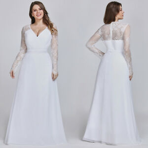 Ever-Pretty-Womens-White-Wedding-Dresses-Long-Lace-Sleeve-Prom-Dress-Plus-Size