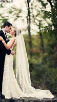 New 3M Length Lace Edge Wedding Tulle Cathedral 1T Bridal Veil White Ivory
