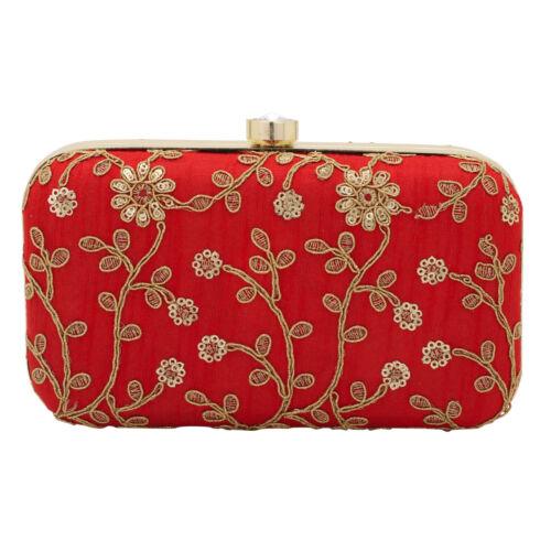 Jwellmart Indian Wedding Ethnic Embroidered Evening Clutch Purse Handbag Bag