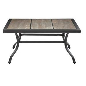Details About Outdoor Coffee Table Wood Pattern Ceramic Tile Tabletop Patio Furniture Brown