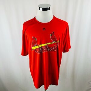 b1c5ea792 St. Louis Cardinals MLB Majestic Evolution Tee Cool Base Red T-Shirt ...