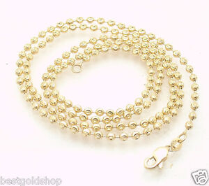e64c6463fcb7d 2.5mm Solid Half Moon Diamond Cut Bead Ball Chain Necklace REAL 14K ...