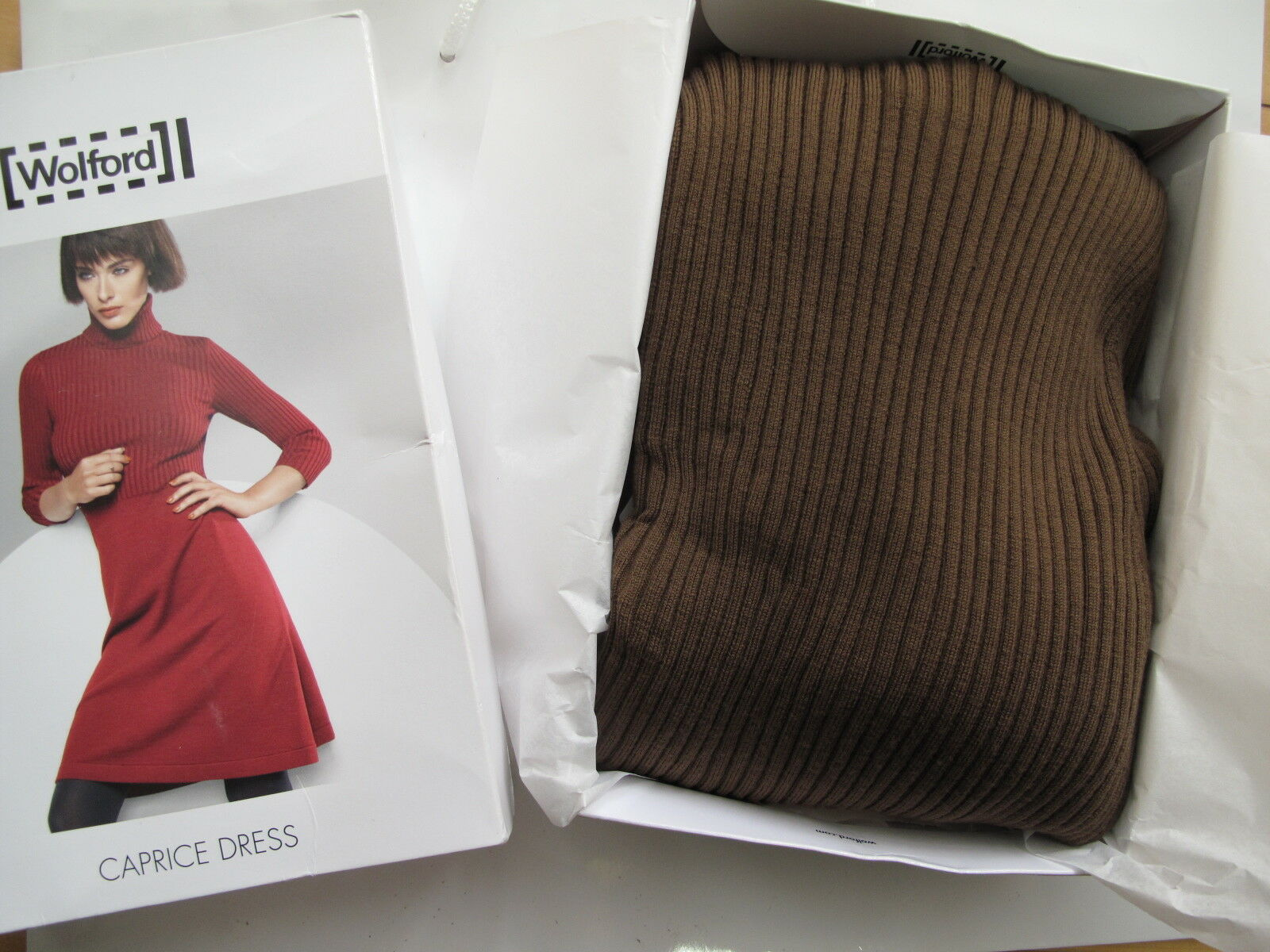 699 •  NIB • • •  WOLFORD • CAPRICE • Ribbed Knit Dress • Bison • XS 6bd926