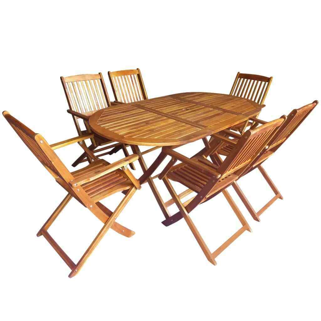 vidaXL Acacia Conjunto Jardín Plegable Madera 7 Piezas Set Mesa Oval 6...