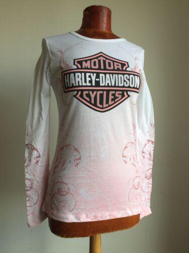 HARLEY-DAVIDSON GENUINE MOTOR BIKE LADIES LONG SLEEVE PINK /& WHITE T-SHIRT BN!!