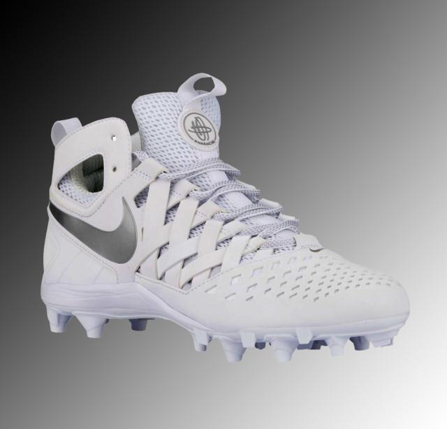 2ad7022ea24826 Nike Huarache V 5 Lacrosse Cleats Mid Men s 13 White Silver Lax ...