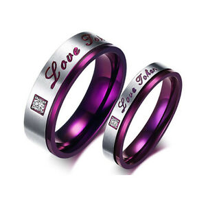 1pc Men Women Love Joker Ring Purple Titanium Steel Fashion Promise