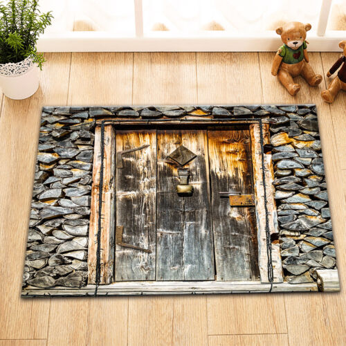 Shower Rug Stone Wall Wood Door Non-slip Door Bathroom Mat Home Floor Carpet