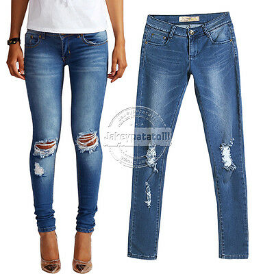 UK WOMENS JEANS Low Mid Rise Ripped Slim Fit Skinny Denim Size 6 8 10 12 14 16