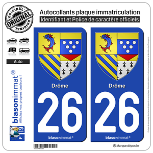 2 Stickers Autocollant Plaque Immatriculation Auto : 26 Drôme - Armoiries Promouvoir La Santé Et GuéRir Les Maladies
