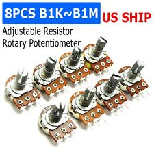 Us Stock 8 Pcs 10k Ohm Linear Taper Rotary Potentiometer Panel Pot B10k 20mm