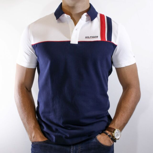 Tommy Hilfiger X-Large XL White Black Blue Polo Shirt NWT