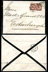 GB QV BANTAM Plate 20 PAIR on MOURNING ENVELOPE 1881 SCOTLAND