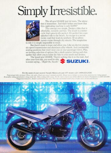 Classic Vintage Advertisement Ad H52 1989 Suzuki GS500E Motorcycle valet