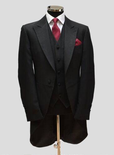good cond/'n black self stripe many sizes £18 only ex-hire Morning tail coat