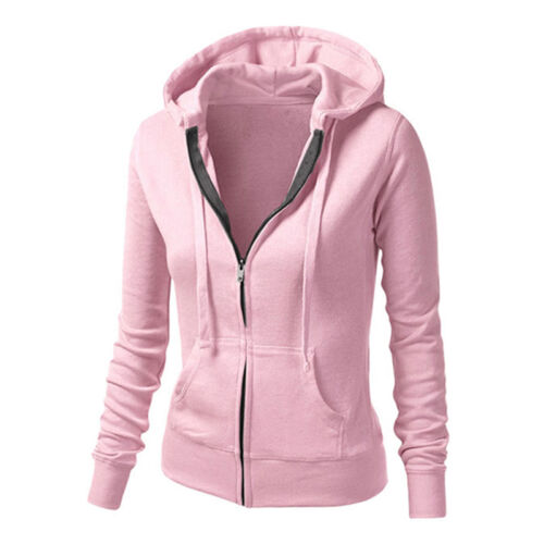 Damen Hoodie Sweatshirt Kapuze Mantel Freizeit Sports Jacke Outwear Sweatjacke