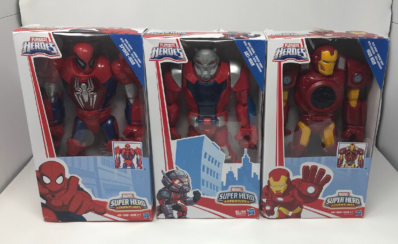 nuovo Lot Of 3 Playskool Heroes Mech Armor cifras SpideruomoIron uomoAntuomo 12""