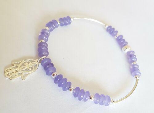 925 sterling silver gemstone charm bracelet purple jade various designs