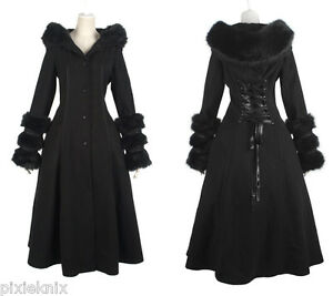 Image Is Loading Black Riding Hood Gothic Lolita Winter Coat With