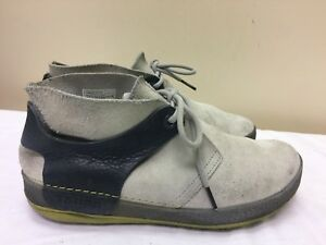 Image is loading Tsubo-Men-Gray-navy-Leather-Suede-Casual-Lace-