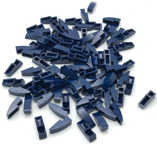 Lego Lot of 100 New Blue Sloped Curved 3 x 1 No Studs Pieces Parts