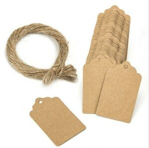 100-X-Blank-Kraft-Jewelry-Price-Label-String-Price-Tags-Swing-Craft-With-String