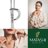16 Rhodium Plated Necklace W/ p Initial & Crystals By Matashi on sale