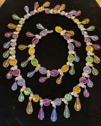 Vintage Arnold Scaasi Multi Color Crystal Necklac… - image 1