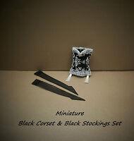 Miniature Black Corset And Black nylon Stockings Set