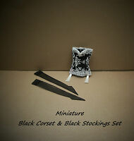 Miniature Black Corset And Black nylon Stockings Set