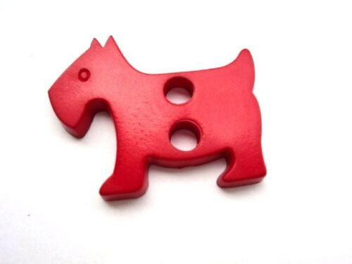 LARGE MATT ITALIAN PLASTIC BUTTONS SCRAPBOOKING CARDS 4 pcs SCOTTIE DOG 31mm