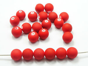 "100 Matte Neon Red Color Acrylic Round Beads 12mm(1/2"") Rubber Tone"