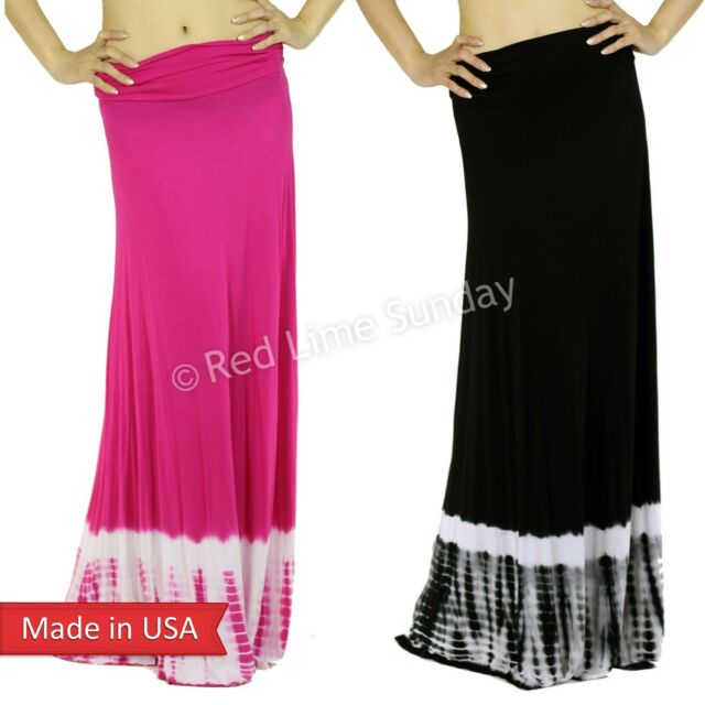 New Black Pink Tiedye Print Boho Hippie Gypsy Side Gathered Long Maxi Skirt USA