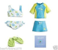 American Girl Myag 2-in-1 Surf Swimsuit For Dolls + Charm Brand In Ag Box