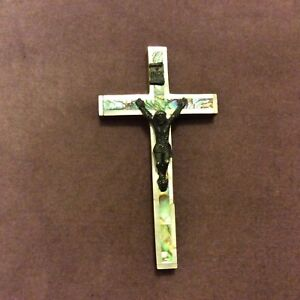 Vintage-Wooden-Crucifix-Paua-Shell-amp-Mother-of-Pearl-Inlay-Jerusalem