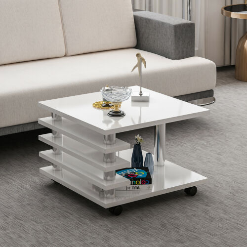 Couchtisch Weiß Hochglanz 65 x 65 cm Tisch Wohnzimmertisch Sofatisch mit Rollen