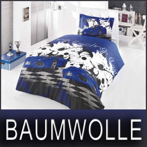 Bettwäsche 135x200 cm Bettgarnitur Bettbezug 100/% Baumwolle Kissen 3 tlg RACING