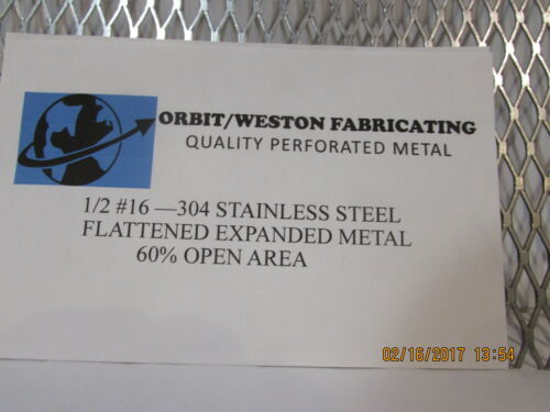 """1//2  #16 304 STAINLESS STEEL FLATTENED EXPANDED METAL-----12/"""" X 12/"""""""