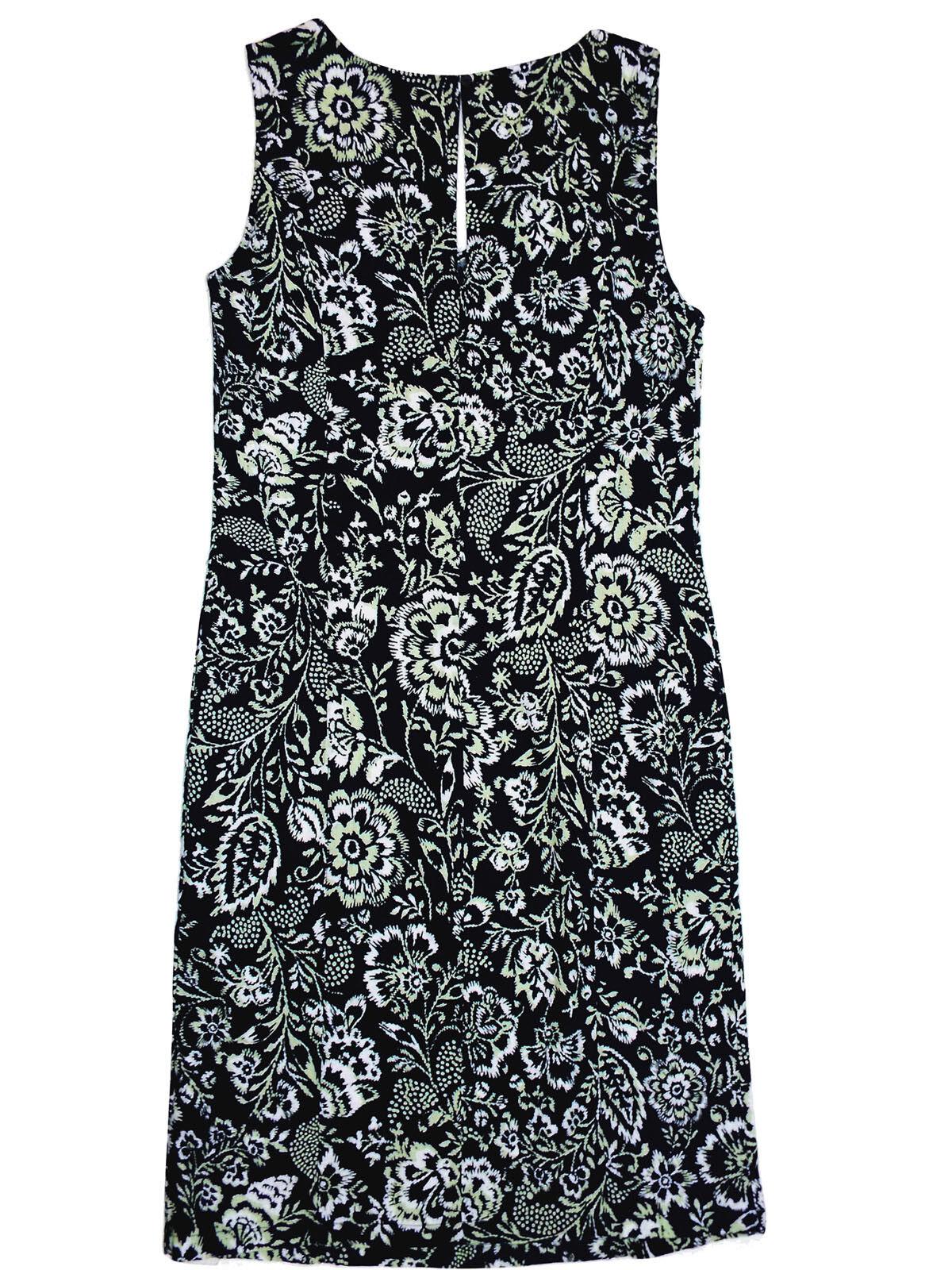 NEW Ex M&S Linen Blue Green Floral Sleeveless Summer Shift Dress Size 8 - 22