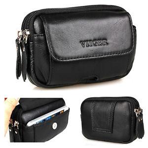 47d16b0919 Leather Horizontal Mens Cell Phone Holster Belt Pouch Waist Bag Hip ...