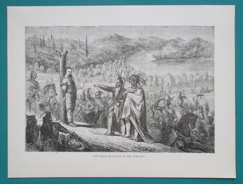 AMERICAN WEST Explorer /& Spahi de Wogan at Indian War Post 1866 Antique Print