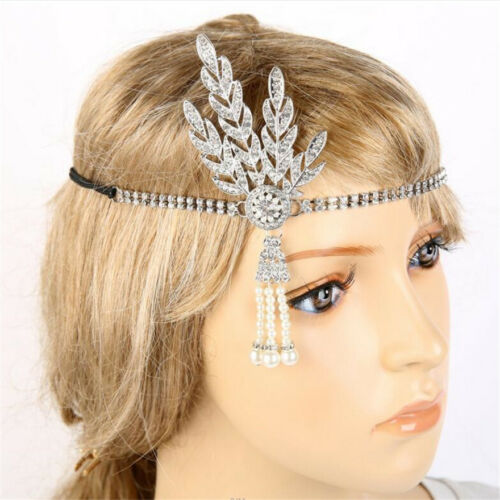 20s 1920s Headband Vintage Bridal Great Gatsby Flapper Costume Accessories Y8