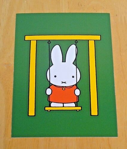 /'WITH LOVE FROM MIFFY/' POSTCARD ~ MIFFY ON HER SWING ~ 1975 DESIGN DICK BRUNA