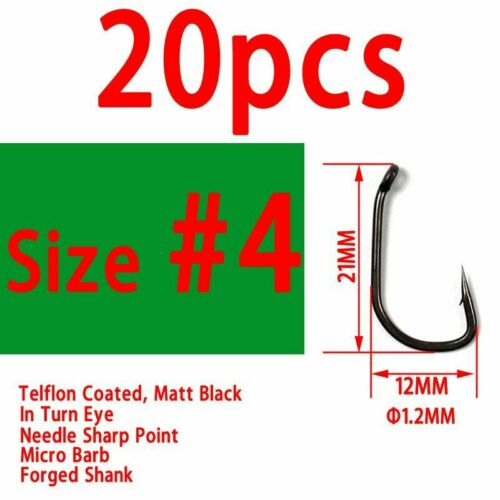 TEFLON Coated Carp Fishing Hook 20pcs High Carbon Steel Bent Eye Micro Barb Hook