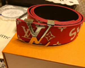 3ea3a660f5ac3 2017 LOUIS VUITTON X SUPREME MONOGRAM WHITE   RED Box Logo BELT ...
