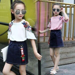 8feb9501164 2pcs Kids Baby Girls Korean Fashion Suit Short Sleeve Blouse+Skirt ...