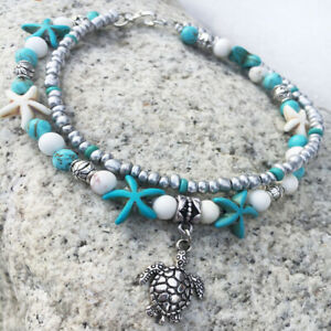 Boho-Ankle-Bracelet-Silver-Tone-Women-039-s-Fashion-Beaded-Adjustable-Beach-Anklet