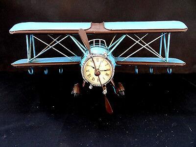 Flugzeug Propellermaschine Doppeldecker Winchester mit Uhr Retro Deko Geschenk